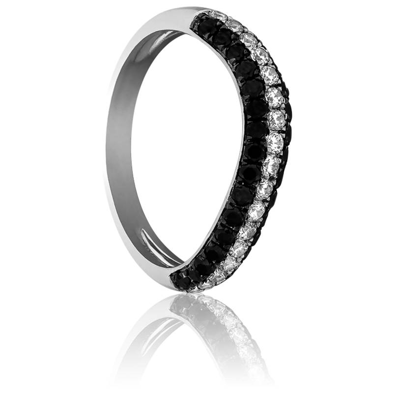 bague gujarat or blanc et diamants noirs kundan ocarat. Black Bedroom Furniture Sets. Home Design Ideas