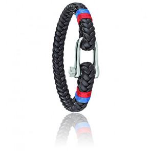 Bracelet Vela Cuir Marron Tressé & Acier SAJC12