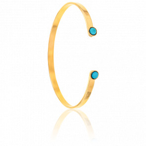 Bracelet Jonc Jasmine Perles Turquoises Plaqué Or Jaune
