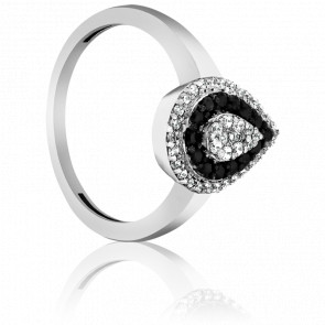 Bague Srinagar Or Blanc et Diamants noirs