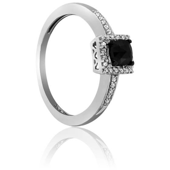 Favori Bague fiançailles dark square or diamant blanc noir - Ocarat HU66