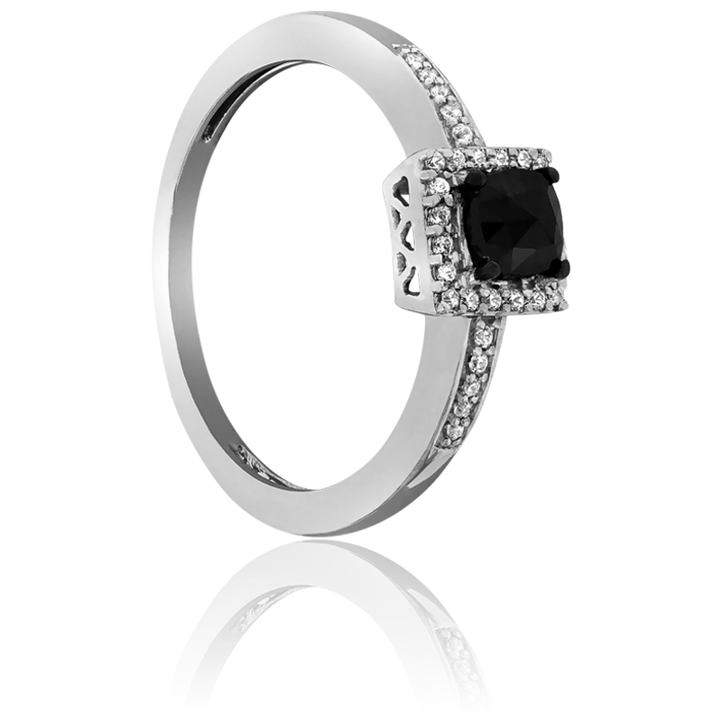 Exceptionnel Bague Diamant noir & Diamant Blanc - Ocarat XQ62