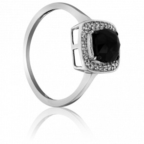 Bague Black Cushion, Diamant Noir & Or Blanc 18K