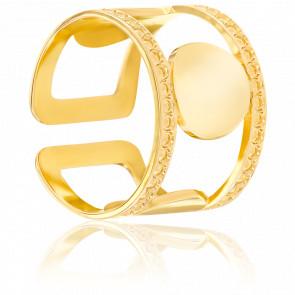 Bague Cercles Perlés Plaquée Or jaune