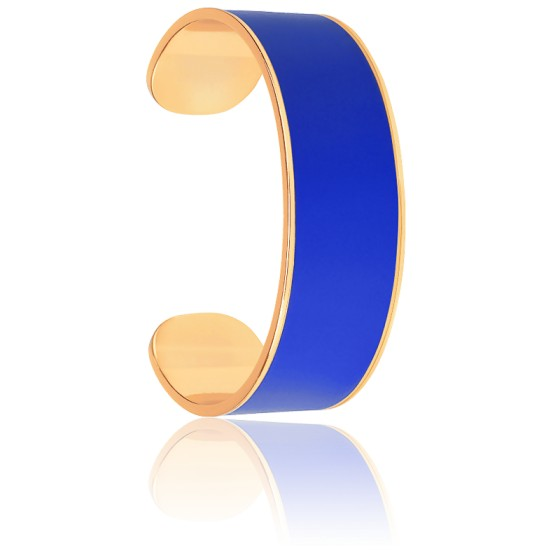 Bracelet Jonc Bangle Bleu Faïence & Plaqué Or Jaune
