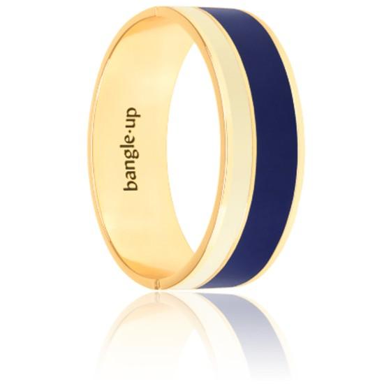 Bracelet Vaporetto Bleu Nuit & Blanc Sable Plaqué Or Jaune