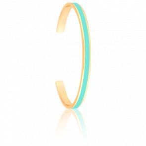 Bracelet Jonc Bangle Bleu Pool Plaqué Or Jaune