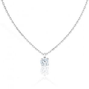 Collier Shine Or Blanc 18K et Diamant 0,20 ct G/SI2 4 griffes