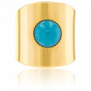Bague Jasmine Turquoise & Plaqué Or Jaune