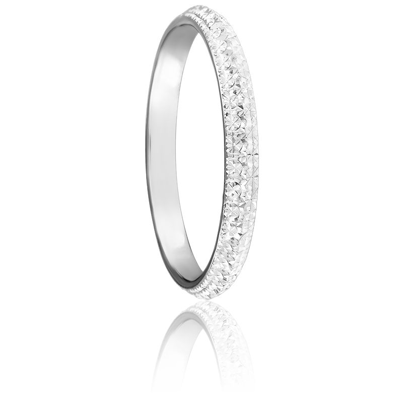 Alliance Diamantée 2,50 mm or blanc 9K