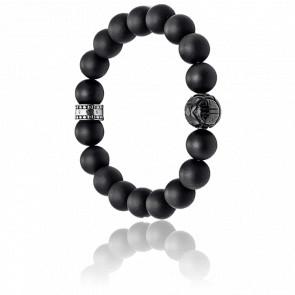 Bracelet Obsidienne Noir & Argent, A1085-023-11