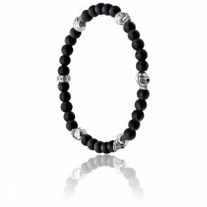 Bracelet Têtes de Mort Noir & Argent, A1097-023-11