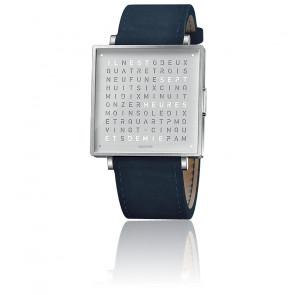 Montre Qlocktwo W35 Fine Steel Leather Suede Dark Blue