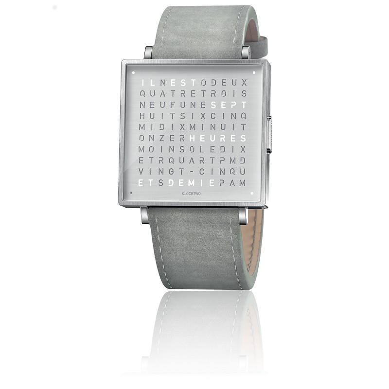 Montre Qlocktwo W35 Fine Steel Leather Suede Light Grey