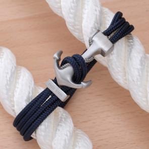 Bracelet Ancre Yacht Club Brossée & Double Cordon Marine
