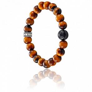 Bracelet Marron Oeil de Tigre & Argent, A1408-806-2