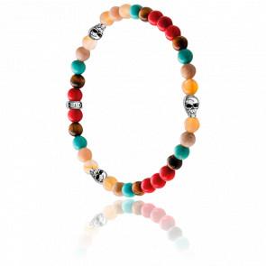 Bracelet Têtes de Mort Multicolore & Argent, A1511-883-7