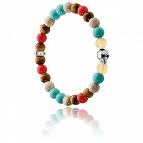 Bracelet Tête de Mort Multicolore & Argent, A1514-883-7