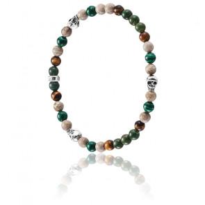 Bracelet Skull Vert & Argent, A1531-929-7
