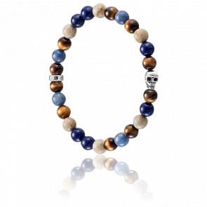 Bracelet Skull Bleu & Argent, A1532-926-7