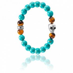 Bracelet Ethnic Skull Turquoise & Argent, A1560-936-17