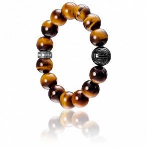 Bracelet Power Oeil de Tigre Marron & Argent, A1574-806-2