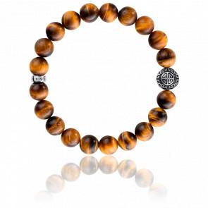 Bracelet Ethnique Oeil-De-Tigre Marron & Argent, A1679-826-2