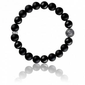 Bracelet Ethnique Noir & Argent, A1680-704-11