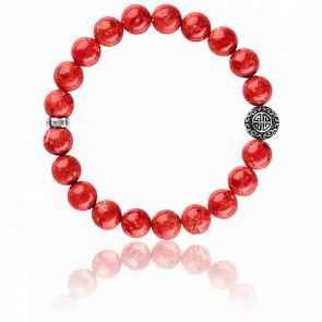 Bracelet Ethnique Rouge & Argent, A1681-062-10