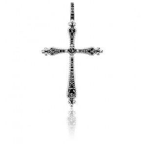 Pendentif Croix Royalty Pierres Noires, PE764-643-11