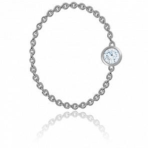 Bague Diamant Enchainé 0,09ct & Or Blanc 18K