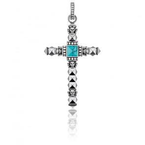 Pendentif Croix Ethnique Petite Turquoise, PE774-878-17