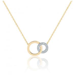 Collier Cercles Infini, Diamant & Or Jaune & Or Blanc 18K