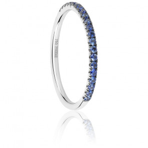 Alliance Half Eternity Saphir Bleu 0,24 ct & Or Blanc 18K