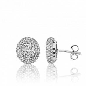 Boucles d'Oreilles Boutons d'Or et Diamants