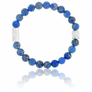 Bracelet Jaspe de Mer Bleu Foncé & Buddha Argenté