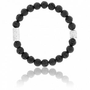 Bracelet Pierre de Lave & Buddha Argenté