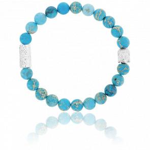 Bracelet Jaspe de Mer Turquoise & Buddha Argenté