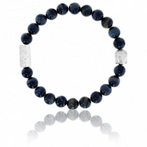 Bracelet Oeil de Tigre Bleu & Buddha Argenté