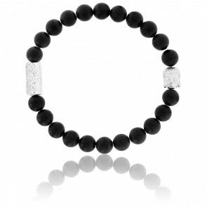 Bracelet Onyx Noire Mate & Buddha Argenté