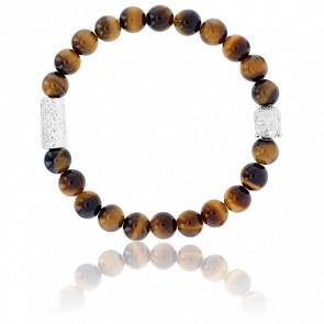Bracelet Oeil de Tigre & Buddha Argenté
