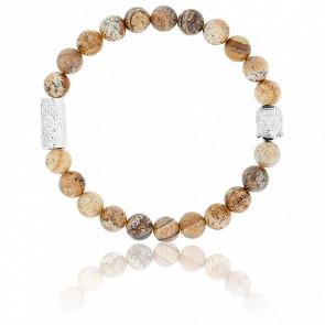 Bracelet Jaspe Gravure & Buddha Argenté