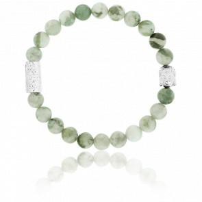 Bracelet Jade de la Paix & Buddha Argenté