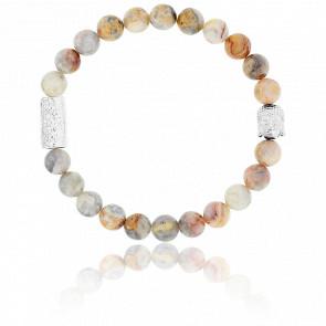 Bracelet Crazy Stone & Buddha Argenté