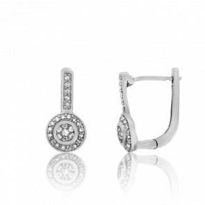 Boucles d'Oreilles Andhra Or Blanc et Diamants