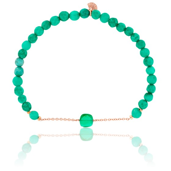 Bracelet Nude Briolettes, Quartz Vert & Plaqué Or Rose