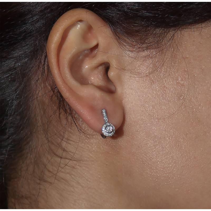 Boucles D Oreilles Andhra Or Blanc Et Diamants Kundan Ocarat