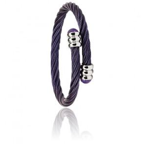 Bracelet Celtic 88, Acier Prune & Améthystes