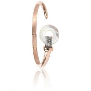 Bracelet Nacre Blanche & Acier PVD Or Rose