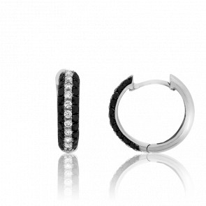 Creoles or blanc 18K, diamants noirs & blancs